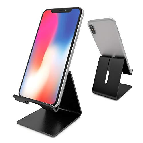 Osindii - Soporte de escritorio para teléfono celular, aluminio, compatible con todos los teléfonos inteligentes, para iPhone 11 Pro Xs Max Xr X Se 8 7 6 6s Plus SE 5 5s (negro)