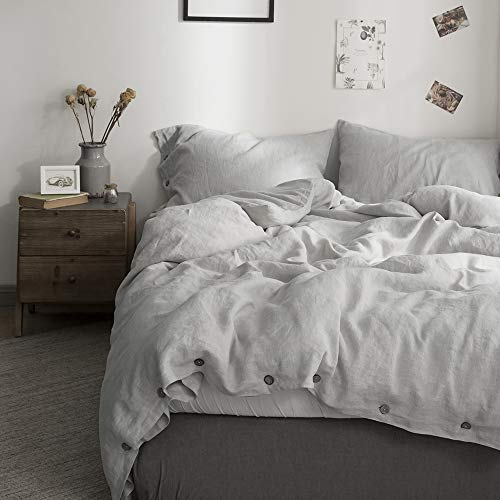 Simple&Opulence 100% Linen Duvet Cover Set with Coconut Button Closure Stone Washed - 3 Pieces (1 Duvet Cover & 2 Pillowcases) Soft Breathable Farmhouse - Light Grey, Californian King Size