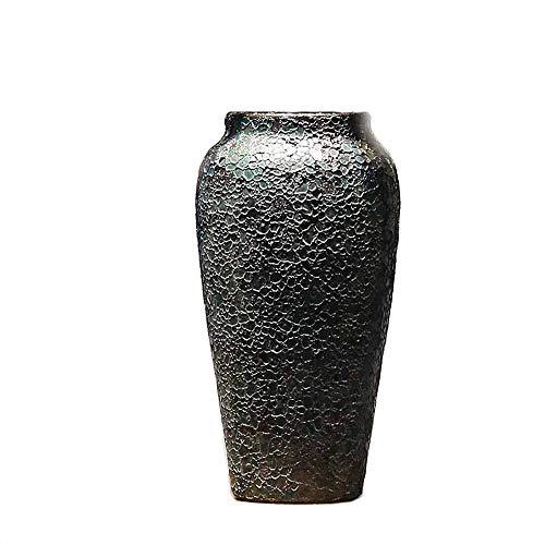 DENGSHENG SHOPS Porzellan Bodenvase Dekoration chinesischen klassischen Keramik Hotel zu Hause Jingdezhen kreative geometrische Form schwarz