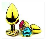 Z-one 1 3Pcs Oro Amor Coraz¨®n Cristal Joyas Conjunto de salud m¨¦dica Acero inoxidable Metal Conjunto de cuerpo Anale Health Trainer Kit B-u'T'T Plug