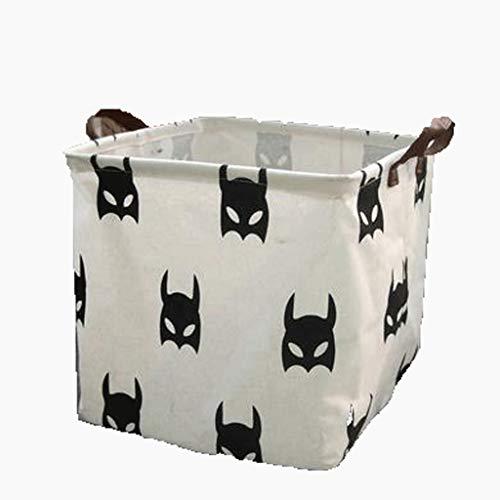 XXT-Sunshine Panier de rangement carré en coton et lin pour vêtements nordiques - Panier de rangement pliable pour le bureau - Couleur : Batman - Dimensions : 32 x 32 x 32 cm