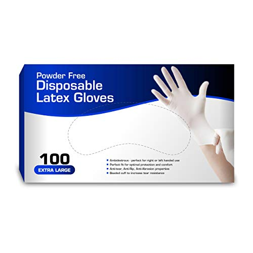 New Disposable Latex Gloves, Powder Free (100 Gloves Per...