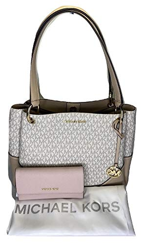 Bundle of 3 items: MICHAEL Michael Kors Nicole Large Shoulder Tote bundled with Michael Kors Jet Set Travel Large Trifold Wallet and Michael Kors Dust Bag Open top with magnetic closure, Dual leather handles, 3 separate compartments interior Interior...
