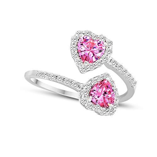 Tanache 100% Echte Natuurlijke Diamant en Hart Saffier 3/8Ct Diamanten Ring Voor Vrouwen I2-Clarity 9k Diamant Sieraden Geschenken Voor Vrouwen G-H Kleur