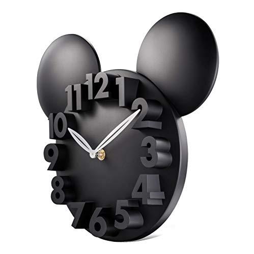 Lafocuse Reloj de Pared Niños Ratón 3D Negro Reloj de Cuarzo Modernos Creativo Decorativos Pare Dormitorio Escuela Primaria Guardería 32 x 28 x 5 cm