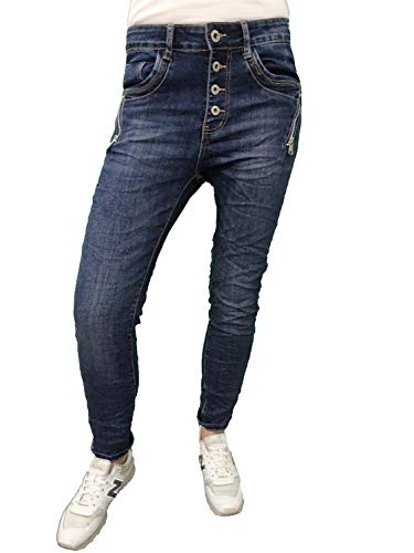 Karostar Denim Stretch Baggy-Boyfriend-Jeans Boyfriend 4 Knöpfe offene Knopfleiste weitere Farben Denim Zip M-38