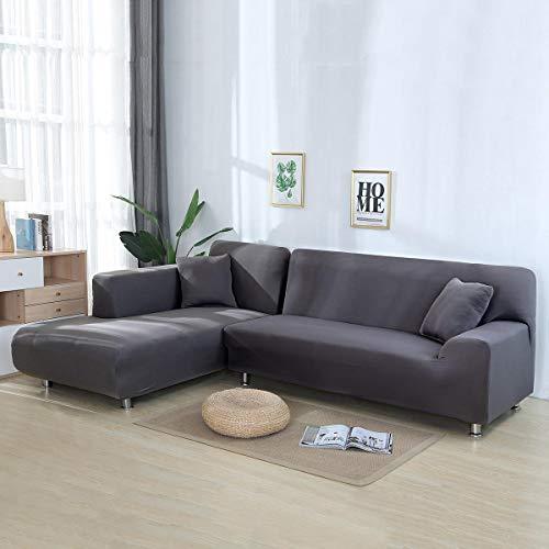 Volwco Sofabezug, L-Form, 2 Stück, einfarbig, Sofabezug, 3-Sitzer, Stretch Sofa, Schonbezüge mit 16 Schaumstoffstäbchen, universell dehnbar, Polyester-Gewebe Silbergrau
