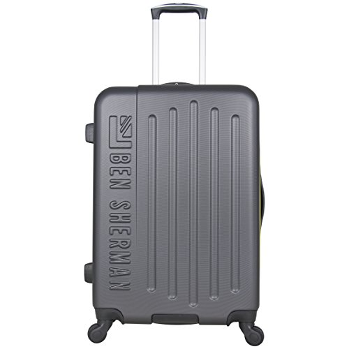 Ben Sherman Leicester 24' Hardside Lightweight 4-Wheel Spinner Checked Luggage, Charcoal