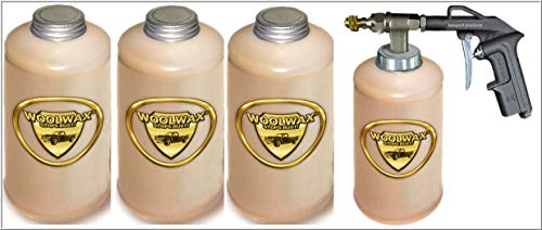 woolwax Lanolin Vehicle undercoating kit (4) Quarts w/PRO Gun & (2) Extension Wands. Straw (Clear) Color