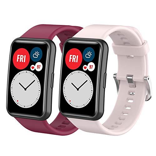 Mijobs 2 Pezzi Cinturino per Huawei Watch Fit Cinturini di Ricambio Bracciale Sportivo Impermeabile e Traspirante, Braccialetto in Silicone Compatibile con Cinturino Huawei Watch Fit