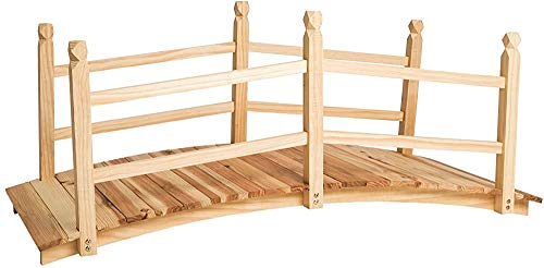 Gebogene Design Holzgartenbrücke Wanderbrücke größte Last: 150 kg ist einfach zusammenzubauen,Beige