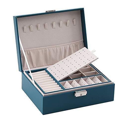 Organizador de Caja de joyería Caja de joyería de Doble Capa Caja de Almacenamiento de joyería Espacio de joyería de Espacio Caja de Regalo (Color : Blue)