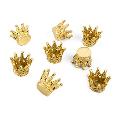 8 kleine mini Deko KRONEN Streuteile GOLD-farben 2,5 cm Prinzessinenkrone Königskrone - Krone für Prinzessin Königin als Symbol für Macht Erfolg Ziele Glück als Glücksbringer Symbol