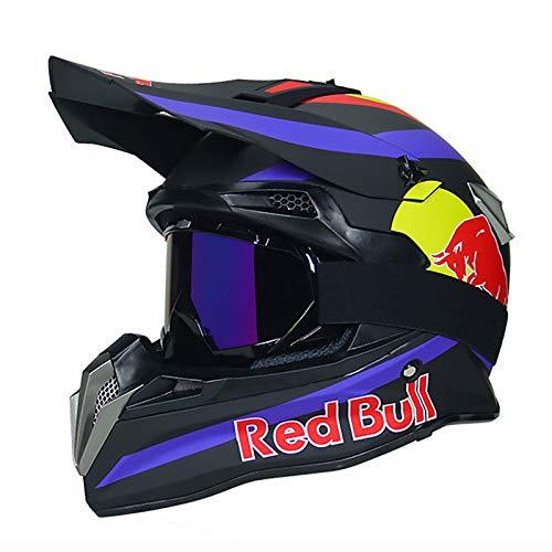 HZIH Fullface Helm,Motocrosshelme Fahrradhelm ABS ECE-Zertifizierung Mehrere EntlüFtungsöFfnungen Schnellverschluss Herausnehmbares Futter Schutzbrillenmaskenhandschuhe Red Bull A,S=54~55cm