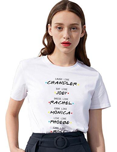 Camiseta Friends TV Show Fan Logo Shirt Mejor Amiga Impresión T-Shirt Best Friend para Mujer Verano Regalo de Cumpleaños Elegante Blanco
