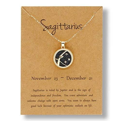 CXWK Collares de constelación de 12 Signos del Zodiaco a la Moda para Mujeres y Hombres, Colgantes Redondos de Oro, Regalo de joyería