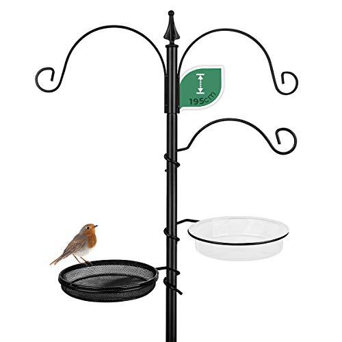 WILDLIFE FRIEND Mangeoire en métal résistant aux intempéries - Kit complet avec abreuvoir et assiette pour oiseaux - Vers de farine, cacahuètes, bain pour oiseaux - 195 cm - Noir