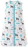Chilsuessy Saco de dormir de verano para bebé, sin mangas, para verano y primavera, 100 % algodón, diseño de zoológico salvaje, 110/bebé, altura 110 – 125 cm