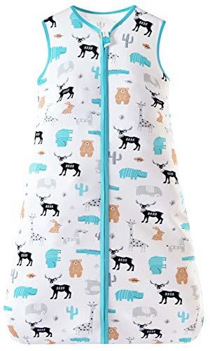 Chilsuessy Sommerschlafsack Baby Schlafsack Kleine Kinder Schlafanzug ohne Ärmel für Sommer und Frühling 100% Baumwolle, Wilder Zoo, 110/Baby Höhe 110-125cm