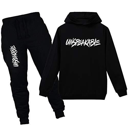 amropi Jungen Hoodie Trainingsanzug Sweatshirt Top und Jogging Hose Kleidungsset (Schwarz, 10-11 Jahre)