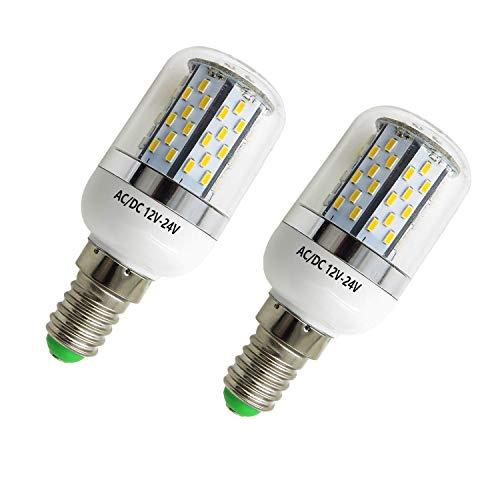 Aiyowei E14 5 W LED Lampadina di mais con copertura 78 – 3014 SMD AC DC 12 V-24 V a prova di esplosione candela luci bianco 6000 K (confezione da 2)