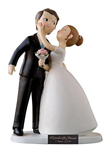 Figura de boda novios para tarta persobalizada con Placa Grabada on nombres y fecha