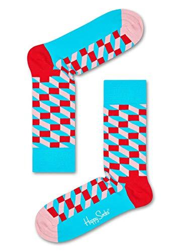 Happy Socks, bunt klassische Baumwolle Socken für Männer und Frauen, Rote Filled Optic (36-40)