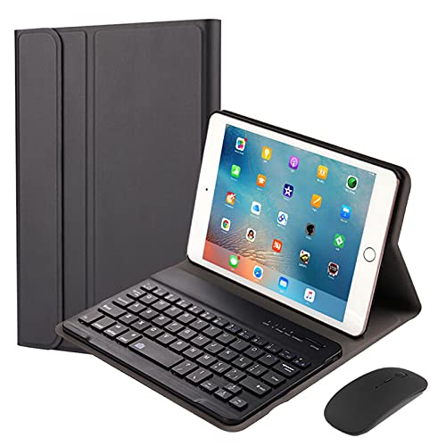 QYiD Keyboard Case for iPad Mini 5/ Mini 4, Lightweight Leather Stand Cover with Magnetically Detachable Wireless Keyboard + Mouse for iPad Mini 5 2019(5th Gen)/ iPad Mini 4 2015, Black