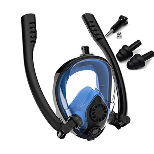 JUYHTY Versión de máscara de Snorkel Respiración fácil 180 ° Vista panorámica Doble antivaho Antifugas Bolsa de Equipo Base de Montaje de cámara Tapones para los oídos Juego de Snorkel,Azul,XL