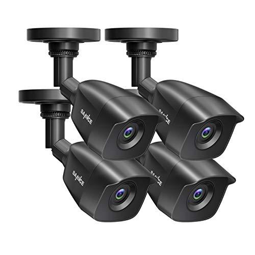 SANNCE 2MP 4*Cámara de Seguridad Domo 1080P Para DVR con Visión Nocturna 100 Pies Cámara de Vigilancia Domo Negra Impermeable Ip66 Para Interiores /Exteriores