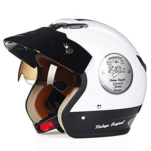 CARACHOME Motorrad Roller Jet Helm, Unisex Retro Helm,Bandit Helm Mit Verstecktem Eingebauten Spiegel, Old Style Motocross Helm Für Scooter Bike,A,XXL