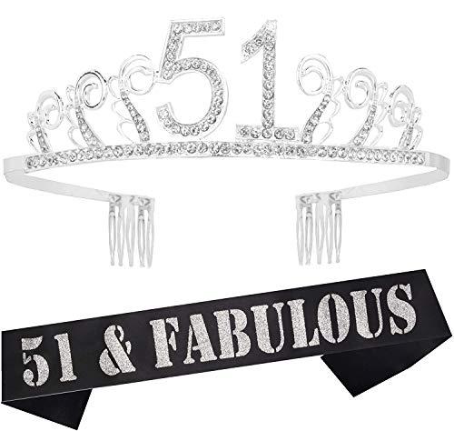 51st Birthday Gifts for Woman, 51st Birthday Tiara and Sash Silver, HAPPY 51st Birthday Party Supplies, 51 & Fabulous Glitter Satin Sash and Crystal Tiara Birthday Crown for 51st Birthday Party Supply