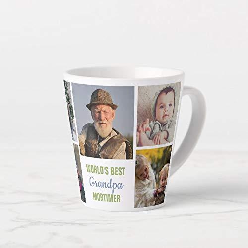 Worlds Best Grandpa Instagram zdjęcie kolaż imię latte kubek ceramiczny kubek do kawy zabawny kubek do kawy 325 ml + bezpłatne pudełko na prezent