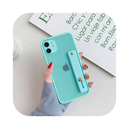 Funda para iPhone 11 con borde cuadrado de silicona suave transparente para iPhone 11 Pro Max 7 8 Plus XR XS X Soporte de la correa del soporte de la cubierta SE 2020-Verde menta para iPhone 11