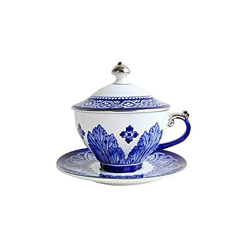 SXXYTCWL Taza de café Taza de café de cerámica Conjunto de Taza de té Chino Tazas de café Azul y Blanco Adecuado para Accesorios de Escritorio Taza de té de la Flor Inglesa 320ml