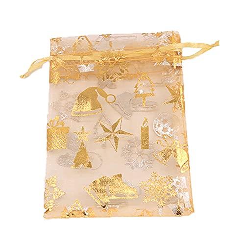 SunshineFace 100 bolsas de regalo de Navidad con estampado de copos de nieve, de organza, bolsas de regalo con cordón