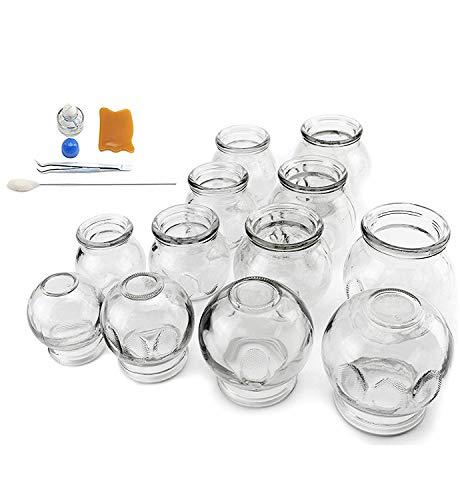拔罐 12 pcs Thick Glass Cupping Set for Professionals (2 Cups #5~2.87'x4'x3.5') (4 Cups #4~2.5'x3.5'x3') (4 Cups #3~2.25'x3.12'x2.8') (2 Cups #2~2.37'x3'x2') - We Pay Your Sales Tax