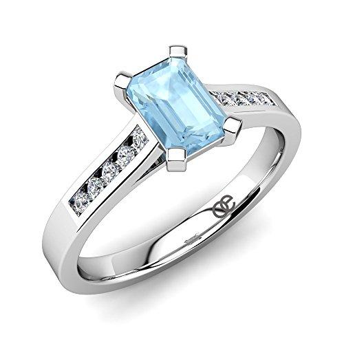 Verlobungsring-Silber Sincerité mit einem Aquamarin und 10 Swarovski Kristallen-Pavé in AAA Qualität - Aquamarin im Smaragdschliff - Comfort-Fit und mit Luxusetui