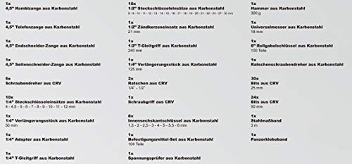 Karcher Werkzeugkasten - 117-teiliges Werkzeugset aus Chrom Vanadium & Karbonstahl mit Hammer, Schraubendreher, Steckschlüssel, Bitsatz uvm. - 8