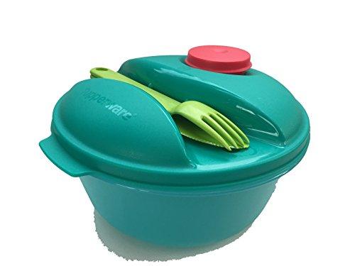 TUPPERWARE To Go Salat&Go 1,5L blau/grün/limette/rot A157 Salat & Go mit Besteck Picknick