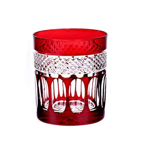 CRISTALICA Verre à Whisky Whisky Cup Red Drinking Cup Verre à la Main en Cristal de Coupe 280Ml