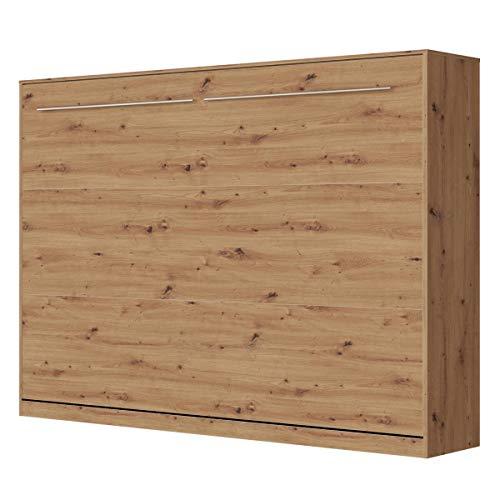 SMARTBett Standard 140x200cm Horizontal Wildeiche Komfort Lattenrost | ausklappbares Wandbett, Wandklappbett fürs Gästezimmer, Büro, Wohnzimmer, Schlafzimmer