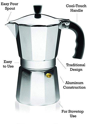 IMUSA USA, Silver B120-44V Aluminum Stovetop Coffeemaker 9-Cup