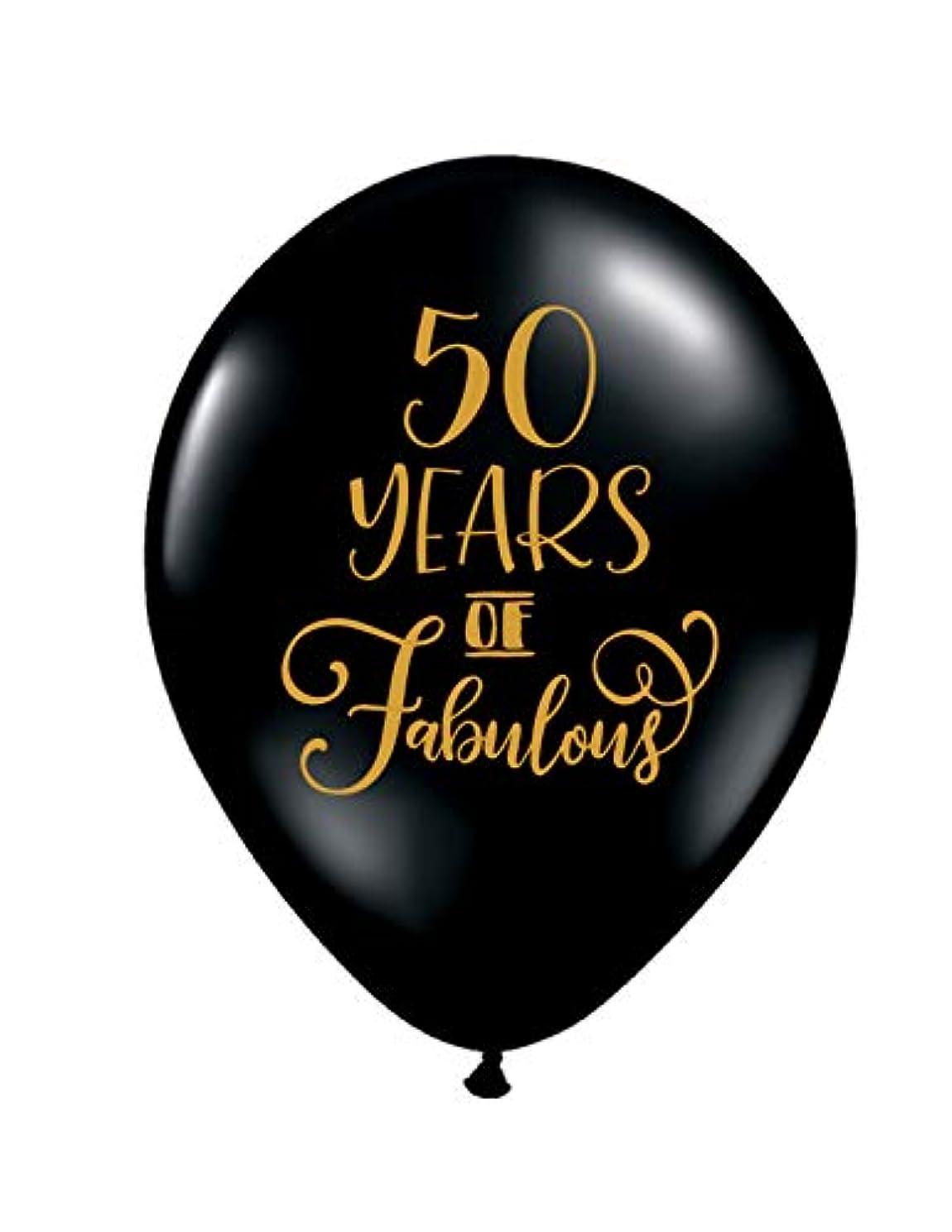 50 Years of Fabulous Black Balloons - 50th Birthday Balloons - Set of 3