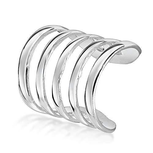 Amberta Pendiente de Cartilago Unisex en Plata de Ley 925: Ear cuff Cinco Aros