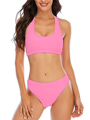 YELAIVP Solid Racerback High Waisted Bikini Sets Sporty Two Pieces Swimsuit Scoop Neck Bathing Suits for Women Pink