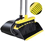 Broom and Dustpan [2020 Upgrade] Tiumso Dust pan Broom Set with Upgrade Combo and Sturdiest Extendable Long Handle,4 Layers Bristles,Upright Standing for Home, Office, Kitchen, Lobby