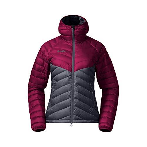 Bergans Pyttegga Down W Jacket W/Hood Colorblock-Grau-Lila, Damen Daunen Freizeitjacke, Größe S - Farbe Beet Red - Solid