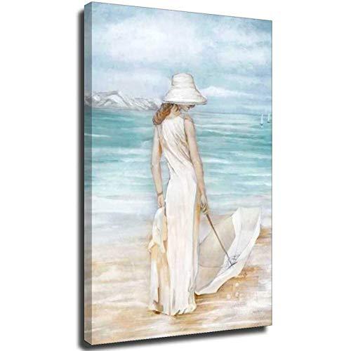 Cuadro abstracto de playa pintado a mano moderno mujer y paraguas mar impresión costera enmarcada en lienzo arte enmarcado para dormitorio estilo unframe-1 40 x 60 cm