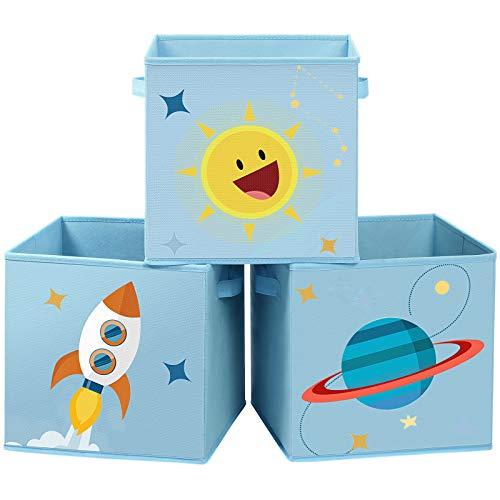 SONGMICSCajas de Almacenaje, Juego de 3, Organizadoras de Juguetes, Cubos Plegables con Asas, para Habitación de Niños, Sala de Juegos, 30 x 30 x 30 cm, Tema del Espacio, AzulRFB001B03